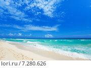Купить «Следы на белом песке и красивые волны», фото № 7280626, снято 4 февраля 2014 г. (c) Сергей Новиков / Фотобанк Лори