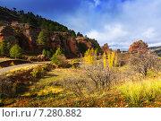 rocks at Alto Tajo in autumn. Guadalajara (2014 год). Стоковое фото, фотограф Яков Филимонов / Фотобанк Лори