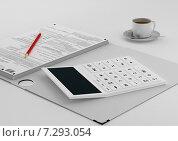 Купить «На рабочем столе бухгалтера - стопка отчетов, калькулятор и чашка кофе», иллюстрация № 7293054 (c) Дмитрий Боков / Фотобанк Лори