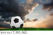 Купить «Composite image of black and white football», фото № 7301362, снято 25 июня 2019 г. (c) Wavebreak Media / Фотобанк Лори