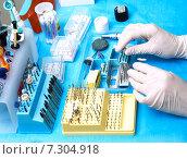 Купить «Рабочий стол стоматолога», фото № 7304918, снято 17 апреля 2015 г. (c) Сергей Слозин / Фотобанк Лори