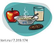 Завтрак с овсянкой и яблоком. Стоковая иллюстрация, иллюстратор Ирина Малашкина / Фотобанк Лори