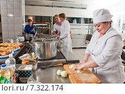 Купить «Кухня в столовой предприятия», фото № 7322174, снято 24 октября 2014 г. (c) Владимир Мельников / Фотобанк Лори