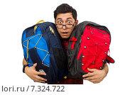 Купить «Young man with bags isolated on white», фото № 7324722, снято 13 декабря 2014 г. (c) Elnur / Фотобанк Лори