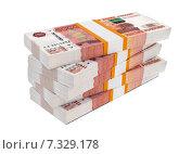 Купить «Пачки российских рублей на белом фоне», иллюстрация № 7329178 (c) Сергей Куров / Фотобанк Лори