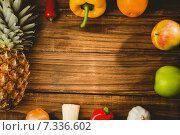 Купить «Fruit and veg laid out on table», фото № 7336602, снято 12 февраля 2015 г. (c) Wavebreak Media / Фотобанк Лори
