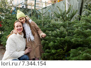 Купить «girl with mom choosing New Year's tree», фото № 7344154, снято 22 января 2020 г. (c) Яков Филимонов / Фотобанк Лори