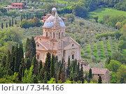 Купить «Madonna di San Biagio church near Montepulciano, Tuscany Italy», фото № 7344166, снято 8 декабря 2019 г. (c) BE&W Photo / Фотобанк Лори