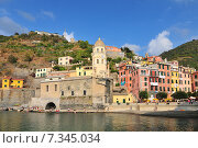 Купить «Vernazza, a small town in Italy's Cinque Terre National Park.», фото № 7345034, снято 2 июня 2020 г. (c) BE&W Photo / Фотобанк Лори