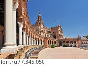 Купить «Plaza de Espana (Place d' Espagne), built between 1914 and 1928 by the architect Anibal Gonzalez, Sevilla, Andalucia, Spain», фото № 7345050, снято 27 марта 2019 г. (c) BE&W Photo / Фотобанк Лори