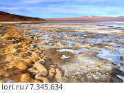 Bolivia, Laguna Colorada, Red Lagoon, Shallow Salt Lake in the Southwest of the Altiplano of Bolivia, within Eduardo Avaroa Andean Fauna National Reserve. Стоковое фото, агентство BE&W Photo / Фотобанк Лори