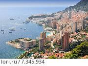 Купить «Elevated view over the city, Monte Carlo, Monaco, Cote d'Azur, Mediterranean, Europe», фото № 7345934, снято 18 июня 2019 г. (c) BE&W Photo / Фотобанк Лори