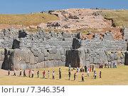 peru - sacsayhuamán (also known as saksaq waman, sacsahuaman or saxahuaman), walled complex near cusco, the former capital of the inca empire.Peru, Cuzco, Sacsayhuaman Inca ruin. Стоковое фото, агентство BE&W Photo / Фотобанк Лори