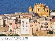 Купить «The town of Castellammare del Golfo in the province of Trapani in Sicily Italy», фото № 7346370, снято 22 апреля 2019 г. (c) BE&W Photo / Фотобанк Лори
