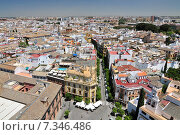 Купить «View of Commercial District from the top of La Giralda at Sevilla´s Cathedral looking toward Guadalquivir River.», фото № 7346486, снято 7 декабря 2019 г. (c) BE&W Photo / Фотобанк Лори