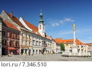 Купить «Slovenia, Maribor, Town Hall and Plague Monument on the Maribor Main Square», фото № 7346510, снято 16 января 2019 г. (c) BE&W Photo / Фотобанк Лори