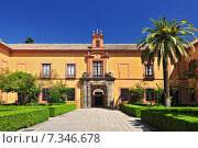 Купить «Palm tree and exterior view of building in the Alcazar of Seville, Andalusia, Spain.», фото № 7346678, снято 5 июня 2020 г. (c) BE&W Photo / Фотобанк Лори