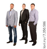 Купить «Трое успешных мужчин  стоят в ряд», фото № 7350586, снято 4 сентября 2014 г. (c) Вячеслав Николаенко / Фотобанк Лори