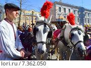 Купить «Знаменитый трамвай конка 1880 года выпуска на параде трамваев в Москве. Чистые пруды, 11 апреля 2015», эксклюзивное фото № 7362050, снято 11 апреля 2015 г. (c) lana1501 / Фотобанк Лори