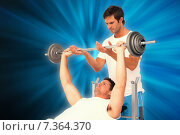 Купить «Composite image of trainer helping fit man to lift the barbell bench press», фото № 7364370, снято 27 марта 2019 г. (c) Wavebreak Media / Фотобанк Лори