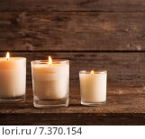 Купить «scented candles on old wooden background», фото № 7370154, снято 4 марта 2015 г. (c) Майя Крученкова / Фотобанк Лори