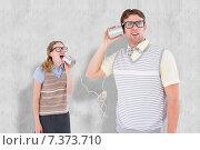 Купить «Composite image of geeky hipster couple speaking with tin can phone», фото № 7373710, снято 23 января 2020 г. (c) Wavebreak Media / Фотобанк Лори