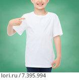 Купить «smiling little boy in white blank t-shirt», фото № 7395994, снято 3 июня 2014 г. (c) Syda Productions / Фотобанк Лори