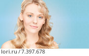 Купить «beautiful young woman face with long wavy hair», фото № 7397678, снято 3 апреля 2010 г. (c) Syda Productions / Фотобанк Лори