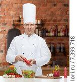 Купить «happy male chef cook cooking food», фото № 7399718, снято 7 марта 2015 г. (c) Syda Productions / Фотобанк Лори