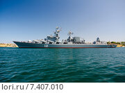 Купить «Военное судно РКР «Москва» (Бортовой номер — 121) в море у Севастополя», фото № 7407010, снято 21 июля 2014 г. (c) Ирина Балина / Фотобанк Лори