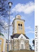 Купить «Керимяки. Финляндия. Самая большая христианская церковь, построенная из дерева. 1848. Колокольня», фото № 7414534, снято 25 апреля 2015 г. (c) Владимир Кошарев / Фотобанк Лори
