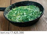 Купить «Kuku - персидское или азербайджанское вегетарианское блюдо из яиц и зелени», фото № 7425390, снято 5 мая 2015 г. (c) Александр Fanfo / Фотобанк Лори