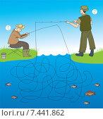 Детская головоломка с рыбаками. Стоковая иллюстрация, иллюстратор Типляшина Евгения / Фотобанк Лори