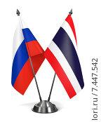 Купить «Миниатюрные флаги России и Таиланда на металлической подставке», иллюстрация № 7447542 (c) Илья Урядников / Фотобанк Лори