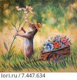 Суслик собирает луговые цветы. Стоковая иллюстрация, иллюстратор Елена Саморядова / Фотобанк Лори