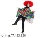 Купить «Pretty mexican girl in vivid pocho isolated on white», фото № 7453930, снято 10 февраля 2015 г. (c) Elnur / Фотобанк Лори