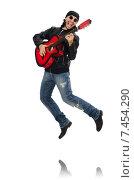 Купить «Guitar player isolated on the white», фото № 7454290, снято 18 февраля 2015 г. (c) Elnur / Фотобанк Лори