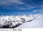 Купить «Кавказские горы. Вид с горнолыжного курорта Домбай в Приэльбрусье», фото № 7460986, снято 16 апреля 2010 г. (c) Анна Полторацкая / Фотобанк Лори