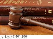 Купить «Судейский молоток и уголовный кодекс Российской Федерации лежит на столе», фото № 7461206, снято 30 апреля 2015 г. (c) Денис Ларкин / Фотобанк Лори