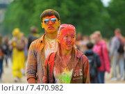 Купить «MOSCOW, RUSSIA - MAY 23, 2015: Фестиваль красок Холи в Лужниках», фото № 7470982, снято 23 мая 2015 г. (c) Володина Ольга / Фотобанк Лори