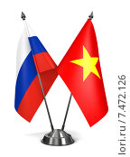Купить «Россия и Вьетнам - миниатюрные флаги», иллюстрация № 7472126 (c) Илья Урядников / Фотобанк Лори