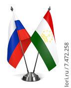 Россия и Таджикистан - миниатюрные флаги на подставке. Стоковая иллюстрация, иллюстратор Илья Урядников / Фотобанк Лори