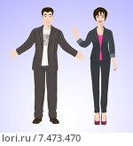 Мужчина и женщина в офисной одежде. Стоковая иллюстрация, иллюстратор Портнова Екатерина / Фотобанк Лори