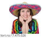 Купить «Pretty mexican girl in vivid pocho isolated on white», фото № 7475026, снято 10 февраля 2015 г. (c) Elnur / Фотобанк Лори
