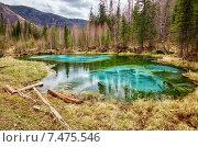 Купить «So-called blue geyser lake in Altay mountains», фото № 7475546, снято 27 апреля 2015 г. (c) Serg Zastavkin / Фотобанк Лори