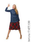 Купить «Pretty female model in blue jacket isolated on white», фото № 7477130, снято 25 ноября 2014 г. (c) Elnur / Фотобанк Лори