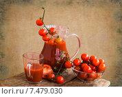 Купить «Кувшин с томатным соком и помидоры», фото № 7479030, снято 19 февраля 2014 г. (c) Татьяна Назмутдинова / Фотобанк Лори