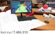 Купить «Рабочее место архитектора в проектном бюро, чертежи на столе, 3D модель на экране», видеоролик № 7486910, снято 6 апреля 2015 г. (c) Кекяляйнен Андрей / Фотобанк Лори