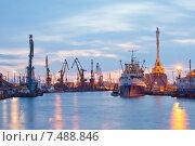 Купить «Калининград. Вид на Калининградский морской торговый порт (ОАО КМТП)», эксклюзивное фото № 7488846, снято 18 апреля 2015 г. (c) Литвяк Игорь / Фотобанк Лори