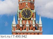 Купить «Куранты на Спасской башне Московского Кремля после реставрации показывают время одиннадцать часов утра», фото № 7490942, снято 5 мая 2015 г. (c) Владимир Сергеев / Фотобанк Лори